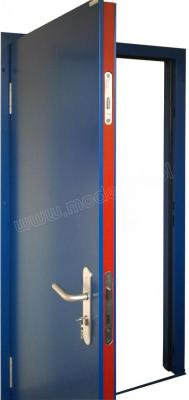 anti-burglary and fire-rated EL60 RC3 door leaf: a lock with three-point locking system, an expanding seal in the red color