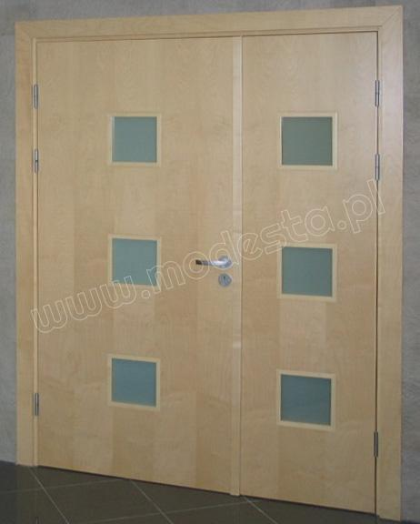 EI60 wooden fire and smoke resistant, glazed double doors finished with wood-look HPL laminate