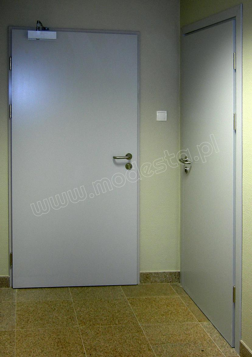 EI60 wooden fire and smoke resistant doors finished with natural wood veneer painted in gray with visible wood texture