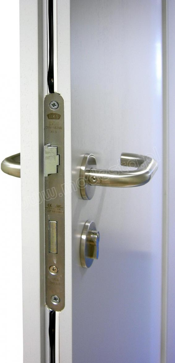 The EI30 wooden fire and smoke resistant door leaf with lock, hardware and seals. Stainless steel safety door handle on a rose with stainless steel escutcheon and cylinder lock.